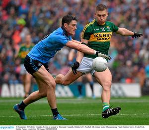 20 September 2015; Peter Crowley, Kerry, is tackled by Diarmuid Connolly, Dublin. GAA Football All-Ireland Senior Championship Final, Dublin v Kerry, Croke Park, Dublin. Picture credit: Ray McManus / SPORTSFILE