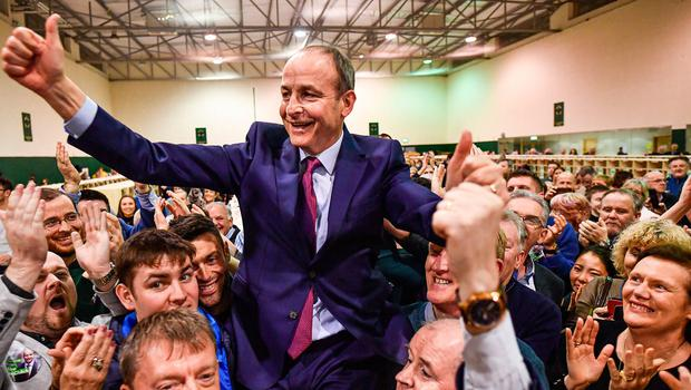 Micheal Martin of Fianna Fail reacts to being elected to the 33rd Dáil at the Irish General Election count for the Cork South-Central constituency   (Photo by Jeff J Mitchell/Getty Images)