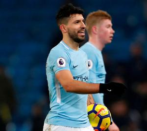 Manchester City's Sergio Aguero with the matchball after scoring a hat trick. Photo: Lee Smith/Action Images via Reuters