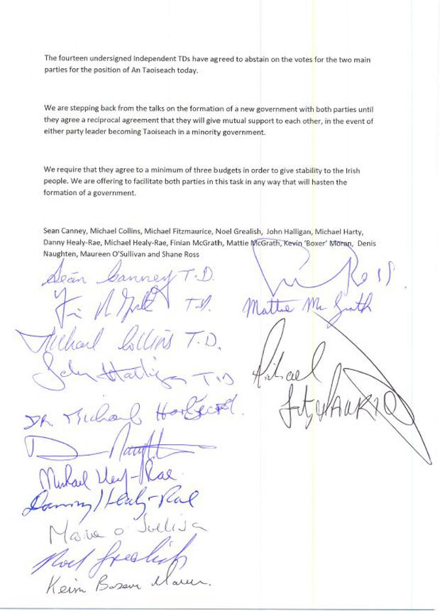 The signatures of the Dail deputies