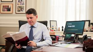 Light reading: Paschal Donohoe always likes to have a book on hand.  Photo: Gerry Mooney