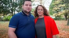 John Connors and Neili Conroy who play brother and sister Patrick and Kitty in Love/Hate at RTE HQ, Dublin. Photo: Gareth Chaney Collins