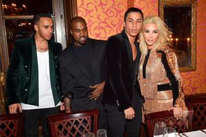Lewis Hamilton, Kanye West, Olivier Rousteing and Kim Kardashian attend the Balmain Aftershow Dinner as part of the Paris Fashion Week Womenswear Fall/Winter 2015/2016