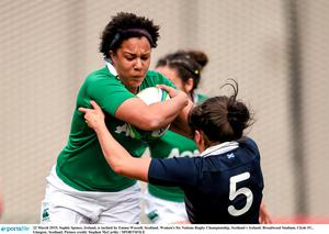 Sophie Spence, Ireland, is tackled by Emma Wassell, Scotland. Women's Six Nations Rugby Championship, Scotland v Ireland. Broadwood Stadium, Clyde FC, Glasgow, Scotland. Picture credit: Stephen McCarthy / SPORTSFILE