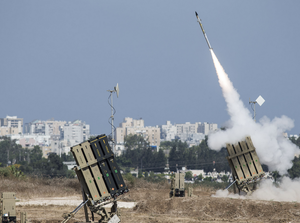 The Iron Dome air-defense system fires to intercept a rocket over the city of Ashdod. Due to recent escalation in the region, the Israeli army started new deployments at the border with the Gaza Strip