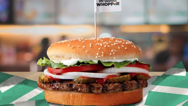 The Rebel Whopper is 20c dearer than its meat-based cousin at Burger King