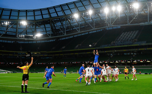 Caelan Doris wins possession from a Leinster lineout during Saturday's PRO14 final against Ulster at the Aviva Stadium, but inconsistency at the lineout is a cause of concern for coach Leo Cullen ahead of the Champions Cup semi-final against Saracens. Photo: Ramsey Cardy/Sportsfile