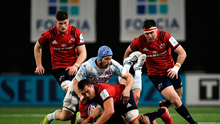 CJ Stander of Munster is tackled by Wenceslas Lauret and Henry Chavancy of Racing 92 during the Heineken Champions Cup Pool 4 Round 5 match between Racing 92 and Munster at Paris La Defence Arena, in Paris, France. Photo by Seb Daly/Sportsfile