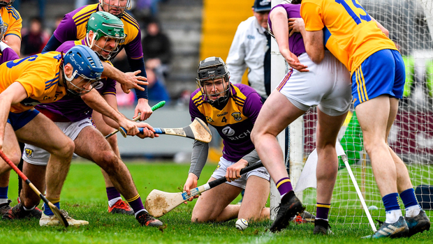 Wexford's Joe O'Connor watches on as the sliotar goes wide of the post. Photo by Ray McManus/Sportsfile