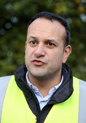 Taoiseach Leo Varadkar pictured after seeing the work of ESB network crews who were repairing damaged powerlines at Drumlara, between Kilcock and Summerhill Co Meath. Picture Credit : Frank McGrath