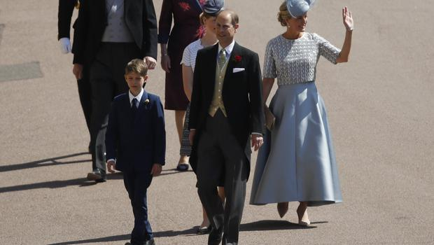 Prince Edward, Earl of Wessex (C), Sophie, Countess of Wessex and James, Viscount Severn arrive for the wedding ceremony of Britain's Prince Harry and US actress Meghan Markle at St George's Chapel, Windsor Castle on May 19, 2018 in Windsor, England. (Photo by Odd ANDERSEN - WPA Pool/Getty Images)