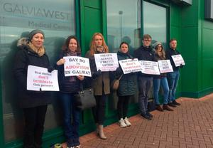 Activists at the clinic in Galway. Photo: Galway Pro Choice Facebook