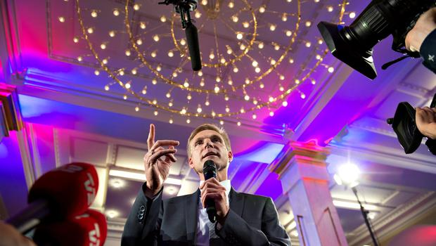 Party Leader Kristian Thulesen Dahl (DF) speaks at the Danish People's Party election party in Snapstinget at Christiansborg on election day, June 18, 2015. REUTERS/Keld Navntoft/Scanpix Denmark
