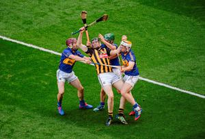 Kilkenny's Walter Walsh attempts to get through the Tipperary wall of Paddy Stapleton, Cathal Barrett and Pádraic Maher during the All-Ireland hurling final at Croke Park. Photo: Dáire Brennan / SPORTSFILE