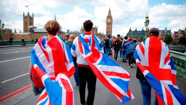 DRAPED IN THE FLAG: The thinking classes of Britain are daring to dream openly of tiptoeing away from the counties across the water in the wake of the Brexit vote. Photo: Odd Andersen/AFP/Getty Images