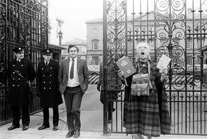 Bertie Ahern, then Fianna Fail Chief Whip, pictured leaving the Dail at the time of the 1983 abortion referendum
