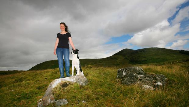 Theresa Roddy on her farm at Lough Talt Co. Sligo. Pic Shows with her son Sean. Photo Brian Farrell