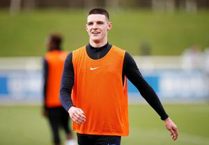 West Ham's Declan Rice pictured during England training. Photo: Action Images via Reuters/Carl Recine