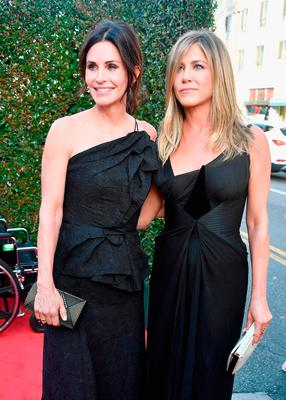 Courteney Cox (L) and Jennifer Aniston attend the American Film Institute's 46th Life Achievement Award Gala Tribute to George Clooney at Dolby Theatre  on June 7, 2018 in Hollywood, California.  389980  (Photo by Frazer Harrison/Getty Images for Turner)