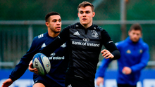 Garry Ringrose, during Leinster training with Adam Byrne (left) earlier this week, has grown into a leadership role with the reigning European champions. Photo: Ramsey Cardy/Sportsfile