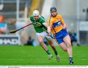 24 May 2015; Tony Kelly, Clare, in action against Tom Condon, Limerick. Munster GAA Hurling Senior Championship Quarter-Final, Clare v Limerick. Semple Stadium, Thurles, Co. Tipperary. Picture credit: D?ire Brennan / SPORTSFILE