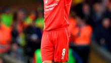 Steven Gerrard acknowledges the acclaim of the Liverpool fans during his final game at Anfield