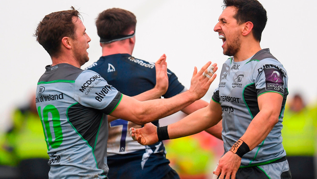 James Mitchell of Connacht celebrates after scoring his side's second try. Photo by Harry Murphy/Sportsfile