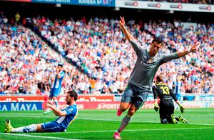 Cristiano Ronaldo celebrates after scoring the first of his five goals against Espanyol