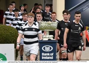 Roscrea captain Tim Foley leads his team out against Belvedere in the 2015 Leinster Schools Senior Cup final. Picture credit: Stephen McCarthy / SPORTSFILE