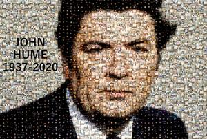 Tributes: Portrait of John Hume made from photos of candles lit in his honour