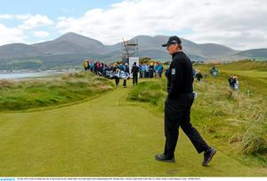 26 May 2015; Ernie Els makes his way to the second tee box. Dubai Duty Free Irish Open Golf Championship 2015, Practice Day 2. Royal County Down Golf Club, Co. Down. Picture credit: Ramsey Cardy / SPORTSFILE