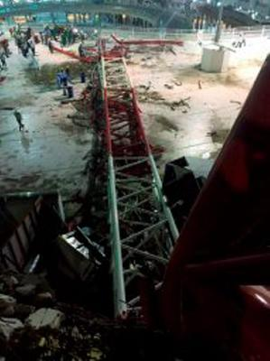 Damage caused by a collapsed crane is seen in the Grand Mosque in the Muslim holy city of Mecca, Saudi Arabia in this handout picture published on Twitter account of the Directorate of the Saudi Civil Defense September 11, 2015. At least 107 people were killed when a crane toppled over at Mecca's Grand Mosque on Friday, Saudi Arabia's Civil Defence authority said, less than two weeks before Islam's annual haj pilgrimage.   REUTERS/Directorate of the Saudi Civil Defense/Handout via ReutersATTENTION EDITORS - THIS IMAGE HAS BEEN SUPPLIED BY A THIRD PARTY. IT IS DISTRIBUTED, EXACTLY AS RECEIVED BY REUTERS, AS A SERVICE TO CLIENTS. REUTERS IS UNABLE TO INDEPENDENTLY VERIFY THE AUTHENTICITY, CONTENT, LOCATION OR DATE OF THIS IMAGE. FOR EDITORIAL USE ONLY. NOT FOR SALE FOR MARKETING OR ADVERTISING CAMPAIGNS. NO SALES.