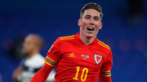 Wales' Harry Wilson celebrates scoring his side's first goal of the game. Photo: Nick Potts/PA Wire