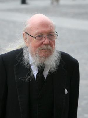 11/06/2015 Garech de Brun (Garech Domnagh Browne) during the Humanist Funeral Service for Paolo Tullio at The Exam Hall in Trinity College, Dublin. Photo: Gareth Chaney Collins