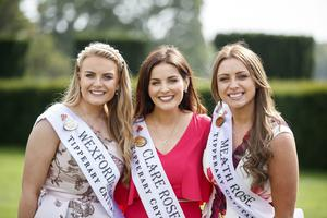 20/08/2019 Wexford Rose Emma Byrne, Clare Rose Victoria O'Connell and Meath Rose Meghan Byrne as Dáithi Ó Sé introduced all 32 hopeful Roses for the first time ahead of this years Rose of Tralee television show in Castletown House Celbridge before they began their journey to Tralee. Picture Andres Poveda