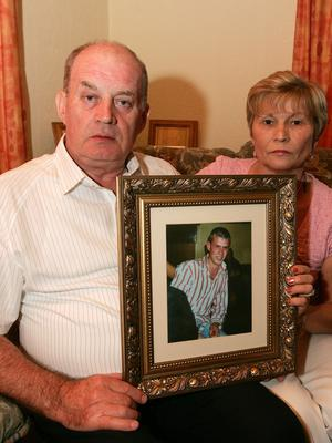 Poignant: Stephen and Breege Quinn with a photo of Paul. Photo: Tom Conachy