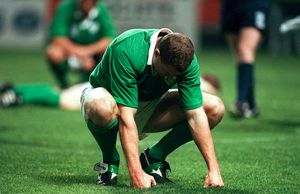 20 October 1999; Matt Mostyn, Ireland, dejected at the final whistlle after defeat to Argentina. Rugby World Cup, Stade Felix Bollaert, Lens, France. Picture credit: Brendan Moran / SPORTSFILE