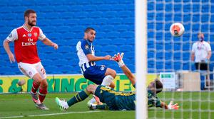 Brighton and Hove Albion's Neal Maupay scores his side's second goal. Photo: Mike Hewitt/PA Wire/NMC Pool