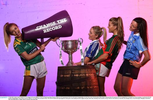 13 July 2016; Ladies Gaelic Football are set to Change the Record. Minister of State for Tourism and Sport, Patrick ODonovan, T.D. launched the 2016 TG4 All Ireland Championships at Croke Park as the LGFA President, Marie Hickey announced that TG4 and the LGFA were joining forces to attempt to set a new attendance record for the TG4 All Ireland Championships.
