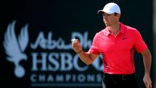 Northern Ireland's Rory McIlroy reacts on the 1st hole during the third round of the Abu Dhabi Championship golf tournament in Abu Dhabi, United Arab Emirates, Saturday, Jan. 20, 2018. (AP Photo/Kamran Jebreili)