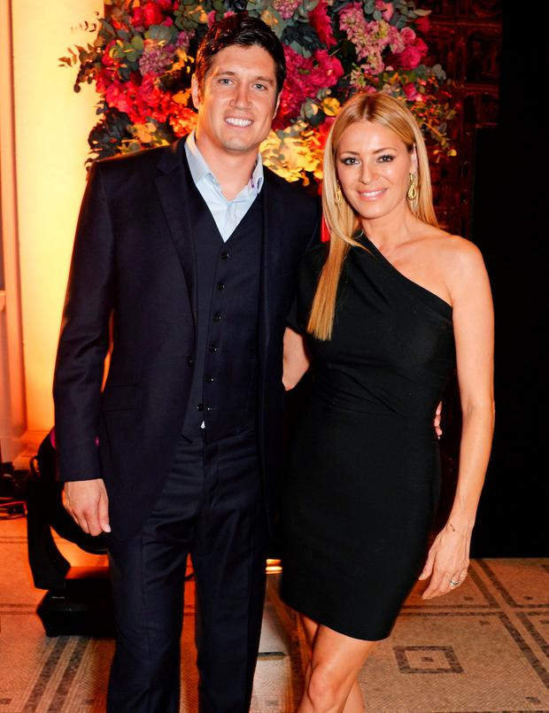 Vernon Kay (L) and Tess Daly attend The F1 Party in aid of the Great Ormond Street Children's Hospital at the Victoria and Albert Museum on July 2, 2014 in London, England. (Photo by David M. Benett/Getty Images)