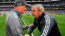 Dublin manager Jim Gavin and Kerry boss Peter Keane shake hands after yesterday's draw at Croke Park. Photo: Sportsfile