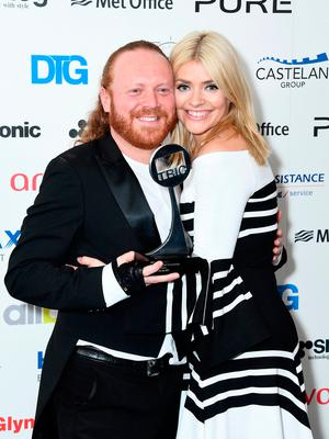 "Leigh Francis and Holly Willoughby with the award for Satellite / Digital Programme for ""Celebrity Juice"" during the TRIC Awards 2017 at the Grosvenor House Hotel on March 14, 2017 in London, England.  (Photo by Gareth Cattermole/Getty Images)"