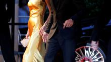 """Cast member George Clooney (R) walks with his wife Amal on the red carpet  during the Japan premiere of the movie """"Tomorrowland"""" in Tokyo. Reuters/Toru Hanai"""