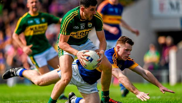 14 June 2015; Michael Geaney, Kerry, in action against Ger Mulhaire, Tipperary. Munster GAA Football Senior Championship Semi-Final, Kerry v Tipperary. Semple Stadium, Thurles, Co. Tipperary. Picture credit: Ray McManus / SPORTSFILE