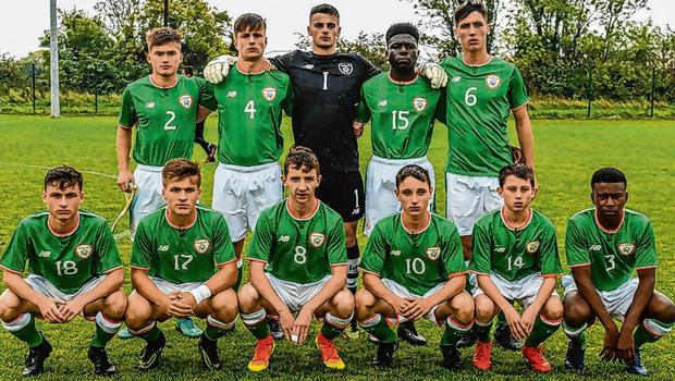 Tega with Ireland's U-16s ahead of their showdown with Brazil in September 2017. Photo: Piaras Ó Mídheach/Sportsfile