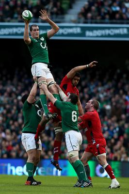 Ireland's Devin Toner wins the lineout from Wales's Taulupe Faletau during the RBS 6 Nations match at the Aviva Stadium, Dublin