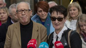 Patric and Geraldine Kriegel, parents of murdered schoolgirl Ana Kriegel, leaving court after the sentence hearing for the two boys convicted of Ana's murder. Picture: Collins Courts