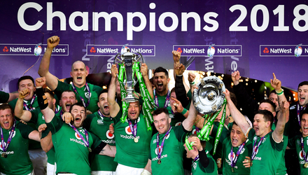 Ireland celebrate with the Six Nations Championship trophy last year. Photo: Sportsfile