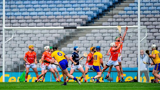 6 June 2015; Roscommon captain Micheal Kelly, 6, scores the winning goal against Armagh from a free. Nicky Rackard Cup Final, Armagh v Roscommon. Croke Park, Dublin.  Picture credit: Matt Browne / SPORTSFILE